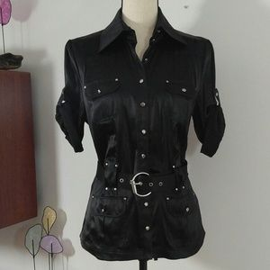 bebe Silk Black Blouse